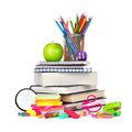 Stack of books and school supplies isolated on white Royalty Free Stock Photo