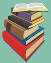 Stack of books several with open book at top Royalty Free Stock Photography