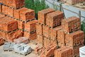 Stack of brick orange clay on construction site Stock Photography