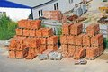 Stack of brick orange clay on construction site Royalty Free Stock Photography