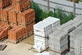 Stack of brick in pallet on construction site Stock Photo