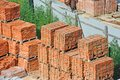 Stack of brick red clay on construction site Royalty Free Stock Photo