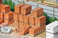 Stack of brick red clay on construction site Royalty Free Stock Photography