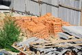 Stack of brick red clay on construction site Royalty Free Stock Image