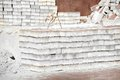 Stack of brick white silicate on construction site Royalty Free Stock Photography