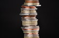 Stack of british coins on a dark background with copy space Stock Photography