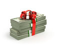Stack of Cash With Red Bow Isolated Royalty Free Stock Photo