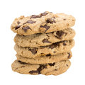 Stack of chocolate chip cookies isolated on white background Royalty Free Stock Photo