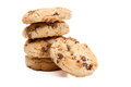 Stack of chocolate chip cookies on white background Stock Image