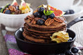 Stack of chocolate pancakes Royalty Free Stock Photo