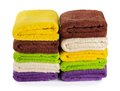Stack of clean fresh towels isolated on  background Royalty Free Stock Photo