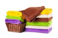 Stack of clean fresh towels isolated Royalty Free Stock Photo