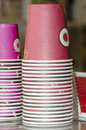 Stack of coffee paper cups detail stacked Stock Photography