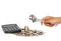 Stack of coin with hand holding wrench in concept repair money p Royalty Free Stock Photo