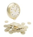 Stack of coins under the clock isolated on white Royalty Free Stock Photography