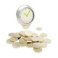 Stack of coins under the clock isolated on white time is money golden silver background Stock Image