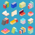 Stack Of Color Books Set Isometric View. Vector