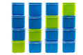 Stack of color boxes one green with three blue in white background and clipping path Stock Photography