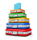 Stack of color travel cases Royalty Free Stock Photos