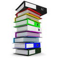 A stack of colored folders for office papers Royalty Free Stock Photo