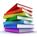 Stack of colorful books over white background Stock Images