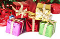 Stack of colorful Christmas gift boxes Stock Photo