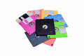 Stack of colorful floppy disks on white background Royalty Free Stock Image