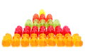 Stack of colorful haribo bear candies. White background Royalty Free Stock Photo