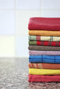 Stack of colorful kitchen towels Stock Photos