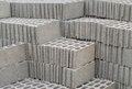 Stack of concrete blocks at the constructing site Stock Photos