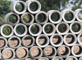 The stack of concrete pipes Stock Photo