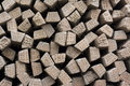 Stack of concrete railway sleepers Stock Images