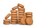 Stack of cookies with cream Royalty Free Stock Photo
