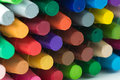 Stack of crayon close up image assorted Royalty Free Stock Photo
