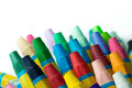 Stack of crayon close up image assorted Stock Photos