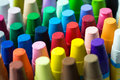 Stack of crayon close up image assorted Royalty Free Stock Images