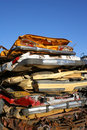 Stack of crushed cars Royalty Free Stock Images