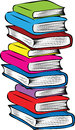 A stack of different colored books Royalty Free Stock Photo