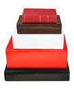 Stack different sizes books isolated on white background Royalty Free Stock Photo