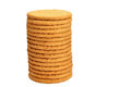 Stack of digestive biscuit on white background Royalty Free Stock Images