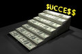 Stack of dollar bills with gold text success d rendering ilustration rich concept a stair to rich concept winner by rich money for Royalty Free Stock Photography