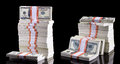 Stack of dollars isolated on black background Royalty Free Stock Images