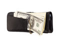 The stack of dollars with leather purse isolated on a white background Stock Images
