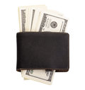 The stack of dollars with leather purse isolated on a white background Stock Photography