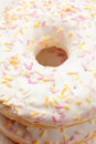 Stack of donuts above view glazed closeup photo Royalty Free Stock Photos