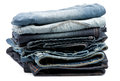 Stack of Folded New Jeans Stock Photos