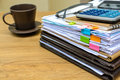 Stack of folders and documents with coffee Royalty Free Stock Photo