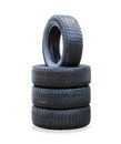 The stack of four winter new tires Royalty Free Stock Photo
