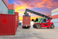 Stack of freight containers at the docks with truck Stock Images