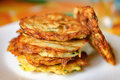 Stack of fried vegetable fritter made of zucchini Royalty Free Stock Photo